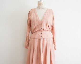 vintage 1980s blush linen two piece