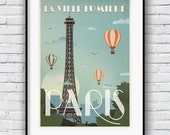 Travel poster etsy for Poster deco cuisine