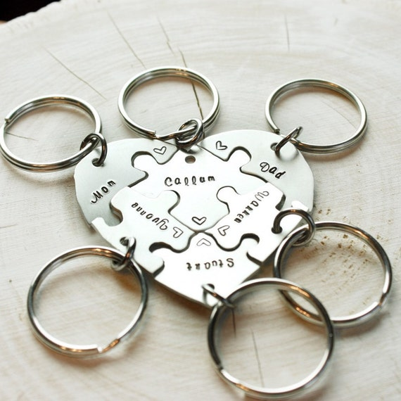 Hand engraved friendship heart puzzle keychain by ...