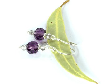 Purple Crystal Earrings, Sterling Silver Dangle Earrings, Bridesmaid Jewelry, Silver Earrings, Mothers Gift, Bridal Earrings, Purple Earring