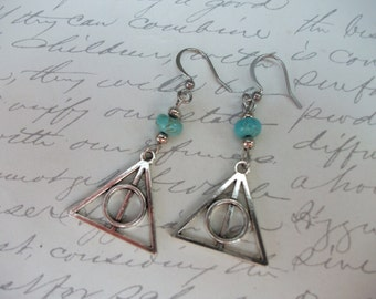 Deathly hallows Harry Potter inspired geometric triangle and circle earrings with turquoise stones