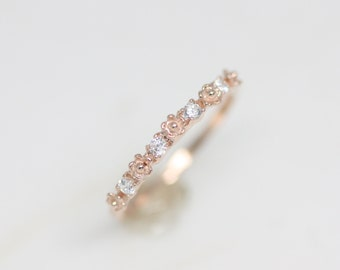 Tiny flower and cz ring, rose gold ring, silver ring, flower ring, dainty ring, rose gold jewelry, zirconia ring, bridesmaid gift, valentine