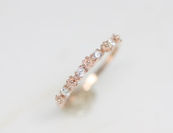 Tiny flower and cz ring rose gold ring silver ring flower