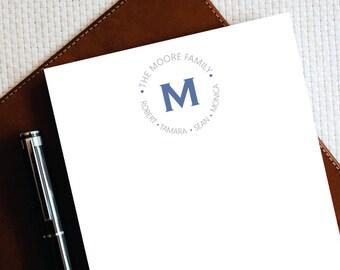 Personalized Notepad – The INNER FAMILY CIRCLE Letterhead - Family Stationary – Custom Monogram Letterhead - Family Gift