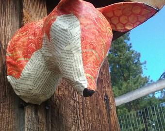 Faux Taxidermy Fox // Paper Mache Animal Head