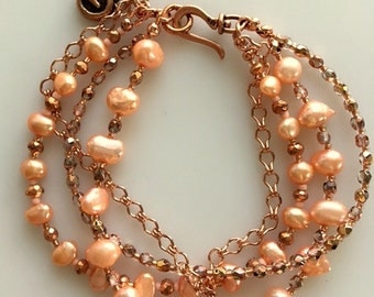 Freshwater Peach Color Pearls Multistand Bracelet