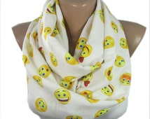 Emoji Scarf Smiley Infinity Scarf Spring Fall Autumn Winter Digital Print  Mothers Day Valentines Gifts For Her Gift for Mom Gift Wife Teen
