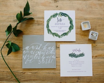 Organic + Minimal Wedding Invitation - Calligraphy Digital / DIY / Customizable