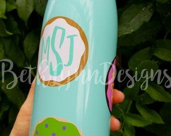 BIG 25 oz. Stainless Steel Insulated Water Bottle - Multi Color Donut Monogram Design