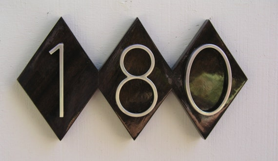 Modern diamond house numbers plaque mid by midcenturywoodshop for Mid century modern address numbers