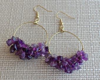 Amethyst Hoop Earrings, Amethyst Earrings, Amethyst Earrings Gold, 14kt Gold Hoops, Gemstone Cluster