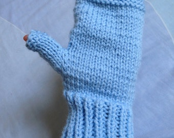 Blue Glovelettes, Wrist Warmer Gloves, Knitted Mittens, Blue Texting Gloves, Gloves for Texting, Ladies Wrist Warmers, Fingerless Gloves
