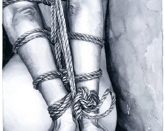 """Mature Content, Signed Giclée Art Print by Vanessa Walsh, """"Rope Play"""", Kink Art Print, BDSM Erotic Art Print, Black and White Art"""