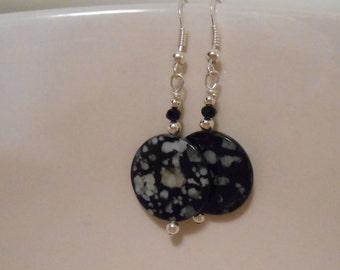Black and White Splatter Glass Bead Earrings Item No. 53