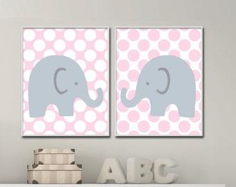 Pink gray nursery wall art Girl nursery decor Girl Elephant nursery wall art, Baby elephants, Set of 2 prints- H155 - Custom Color