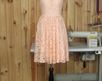 2016 peach Bridesmaid dress With Lace, Short Prom dress, Womens Formal dress, A line Evening dress, V back Party dress knee length