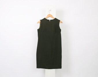 Olive GREEN 60s Vintage Shift Mod Womens Au 10 US 6 Mini METAL Zip Up Poly Wool Military Khaki Winter Aw Twiggy Sixties Hippy Dress