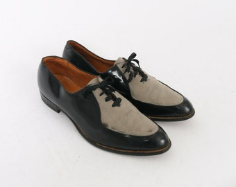 PATENT Leather Mens 9 10 Aaa Black Leather Grey Suede Formal Vintage Dress Oxfords Brogues Two Tone 1940s Style Spatz Narrow Fitting Shoes