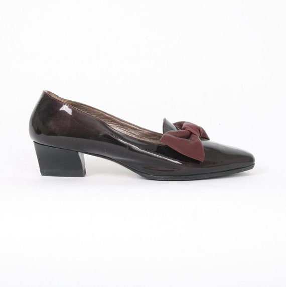 BALLY Womens 6 Dark Red PATENT Leather BOW Slip On Loafer