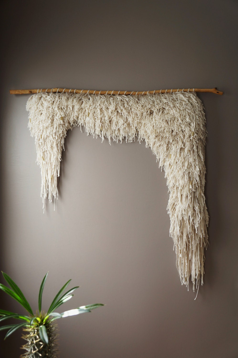 Woven Wall Hanging Cotton Wool Tapestry Handwoven Textile