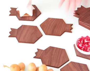 Rosh HaShana gift, Set of 12  coasters, made of wood, pomegranate shaped, modern Judaica,Jewish gift