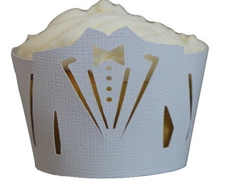 White Tuxedo Cupcake Wrappers, Set of 12, Groom/Wedding, White Texture, Cupcake Decor, Handcrafted Party Decor, Party Supplies