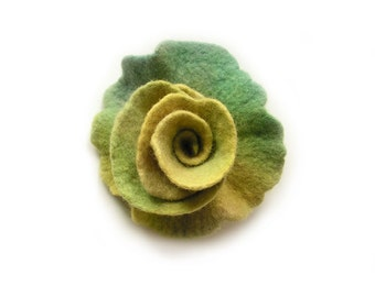 Felted flower brooch felt flower brooch hand dyed flower felt floral pastel green yellow merino wool brooch summer gift boho OOAK