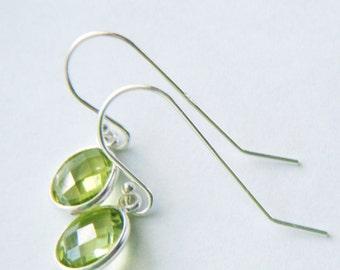 Peridot earrings Peridot jewelry Genuine peridot drops Peridot dangle Heart chakra jewelry August birthstone Sterling silver earrings