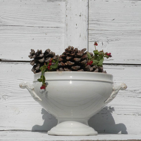 Antique white ironstone shabby chic tureen, antique soupiere, white ironstone tureen, shabby chic French, country home, cottage chic, Gien