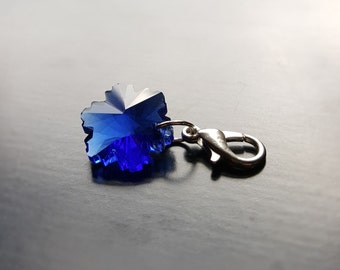 Crystal Snowflake Dangle/Charm for Floating Lockets, Necklace, or Bracelets-Deep Blue-Gift Idea