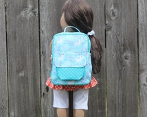 Teal Purple White Unicorn Doll Backpack 18 17 16 15 Inch Doll Girls Kids Baby Doll Clothes American Made Doll Accessories Doll Dresses