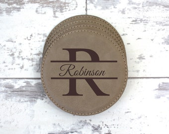 Coaster Set - Set of 6 Personalized Leather Coasters With Holder - Monogrammed Coaster Set - Leather