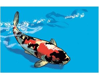 Koi Fish Nishikigoi Poster Benjamin Güdel Illustration Comic carp animal blue water aquarium