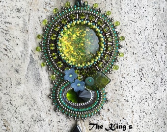 Lime green beadembroidered pendant