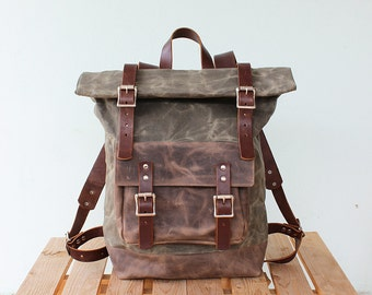Waxed Canvas Backpack Roll top with brown leather details, Waxed Canvas Rucksack Roll top, olive