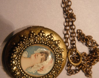 Victorian styled Locket in Brass with Victorian Lady