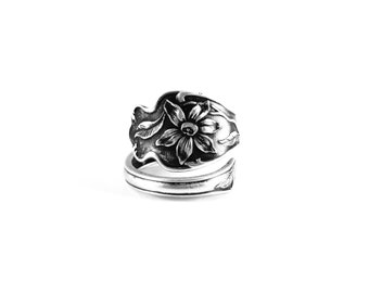 Sterling Silver Spoon Ring, Floral Spoon Ring, Clematis Ring, Paye & Baker, Adjustable Bypass Ring