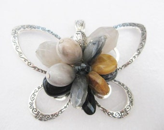 Jewelry Supplies ~ Huge Butterfly Pendant   Black  Grey  Tan  Beads  Silver    3 1/2""