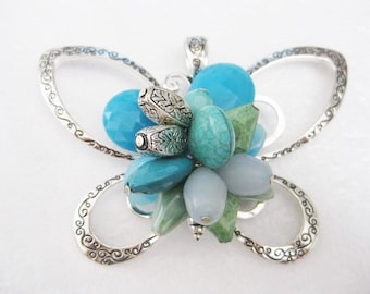 Jewelry Supplies ~ Huge  Butterfly   Pendant   Turquoise Blue Beads    detailed Silver   3 1/2""