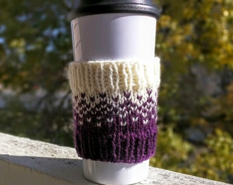 Knit coffee cozy sleeve in violet and cream
