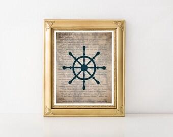 Nautical Decor, Nautical, Nautical Wheel, Nautical Print, Nautical Art, Nautical Art Print, Nautical Printable, Nautical Wheel Decor 0331