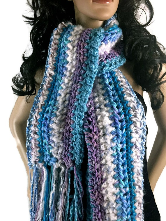 Ragamuffin Fringe Long Winter Scarf - Turquoise Blue Lavender Purple White - Gift Under 50 - OOAK Chunky Knit Crocheted FREE SHIPPING RG13