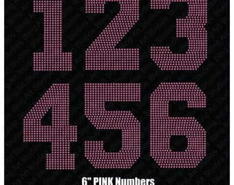 "Rhinestone Transfer, 6"" Pink Bling Numbers, Iron-on Rhinestone Numbers, Large Rhinestone Numbers, Heat Transfer Numbers, Iron on Numbers"