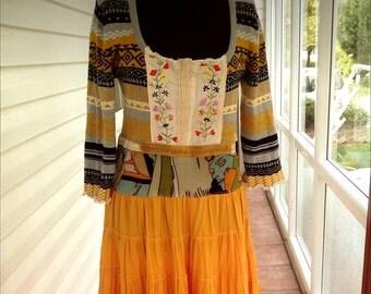 SALE, Boho clothing Upcycled clothing Boho Dress Upcycled dress Upcycled recycled repurposed clothing lagenlook Gypsy Artsy sweater dress