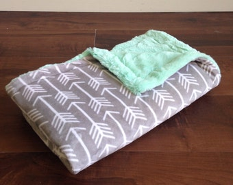 Minky Throw Blanket- Gray Arrows & Mint Green, Minky Baby Blanket, Adult Minky Blanket
