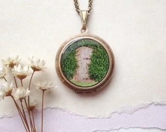 Secret Garden Locket with Key - Enchanted Brass Locket Necklace - Magical Faerie Door