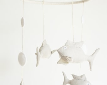 Fish Crib Mobile, Baby Mobile, Fish Linen Baby Mobile for nursery decor.