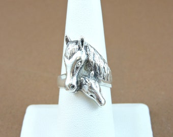 Size 8 Sterling Silver Mare And Colt Ring