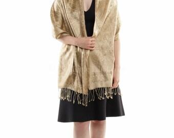 Peach Beige Silk Pashmina scarf/shawl/stole/wrap (Bg35) Free UK Shipping