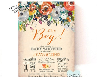 Fall Baby Shower Invitation Halloween Baby Shower Invitations / Autumn Baby Shower Invites  // Printable OR Printed No.1205BABY